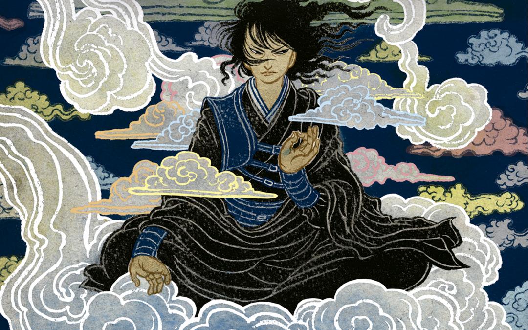 Cubierta de Las mareas negras del cielo en la que se muestra a Akeha flotando sobre una nube en posición de loto, rodeada por nubes de colores, en el suelo un paisaje verde por el que fluye un río rojo sangre