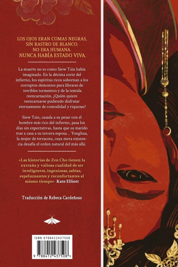 Contraporta del libro, en tonos rojos, a la izquierda se incluye la sinopsis y a la derecha parte de la ilustración de cubierta volteada, mostrando media cara de la mujer de terracota